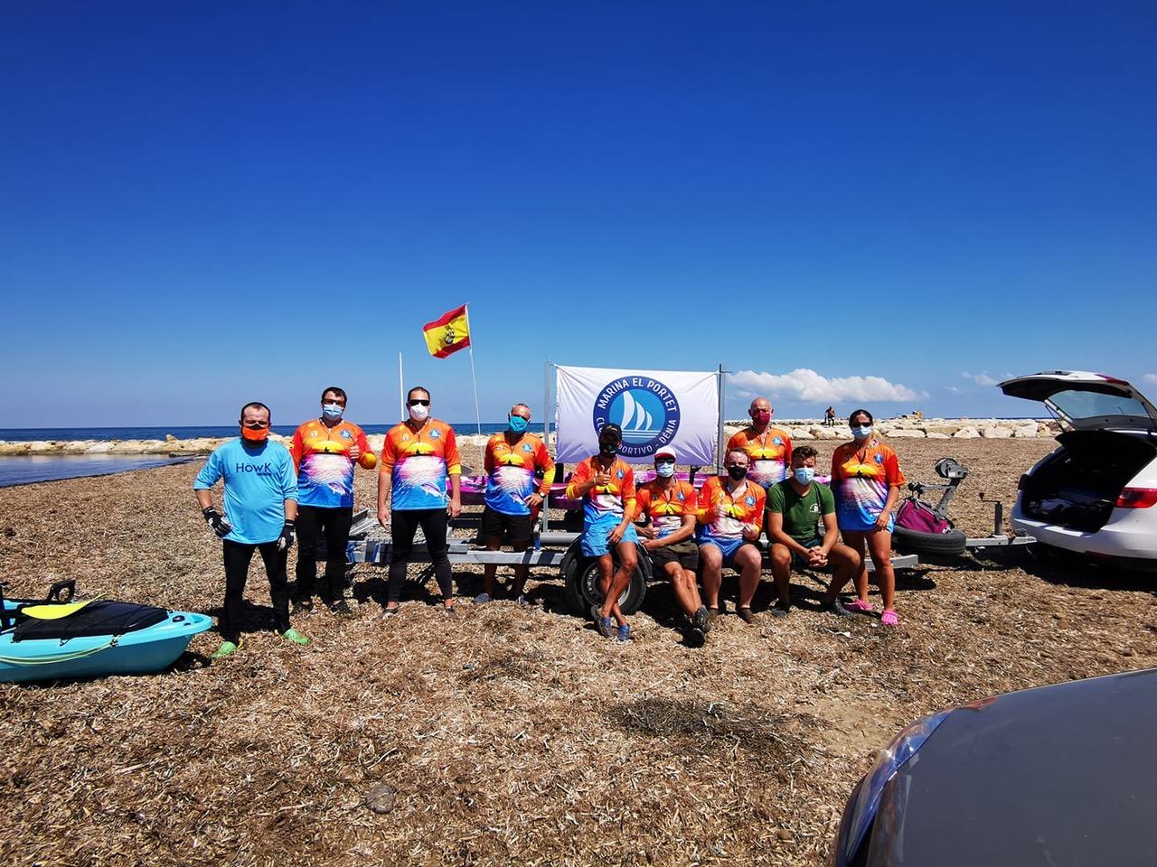 Miembros del Club Marina El portet en una prueba disputada en septiembre de 2020
